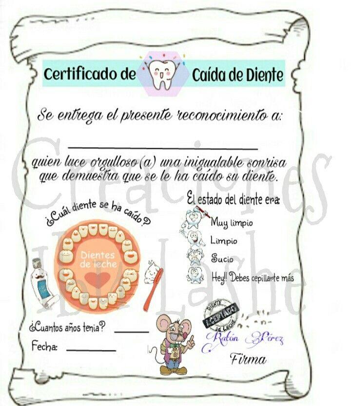 Certificado caide de Diente de Leche del Ratón Perez @creaciones.ibu