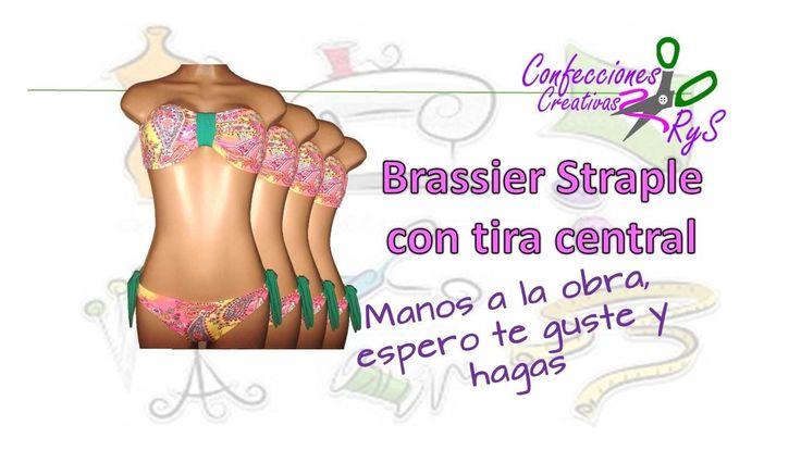 DIY:(BRASIER STRAPLESS CON TIRA CENTRAL) CURSO GRATIS TRAJE DE BAÑO Gana...