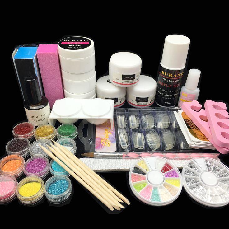 Acryl nagel kit Acrylnagel-pulver Flüssig Glitter Pinsel Nagelspitzen Buffer Aufkleber Datei UV Gel Kit Nagel Werkzeuge set strom 2907