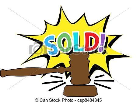 Vector - Auction gavel Sold cartoon icon -