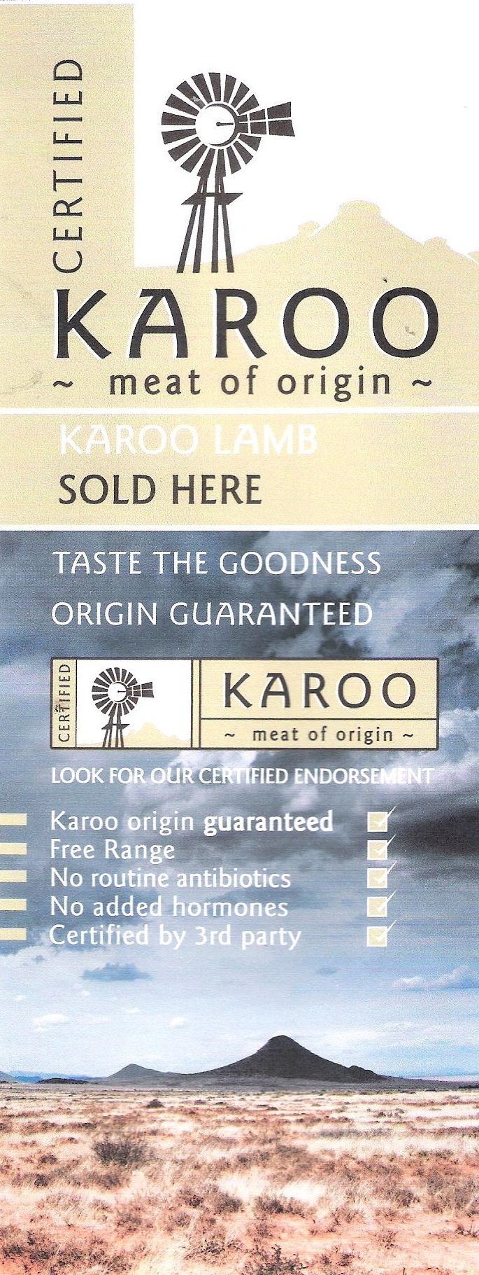 Karoo Meat of Origin - your only guarantee that it is from the Karoo