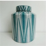 CAN12704 Bamboo Design Turquoise/White