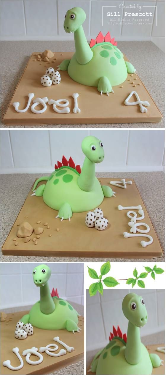 dinosaur cake. I like how the letters are bones. Would work well for Ella.