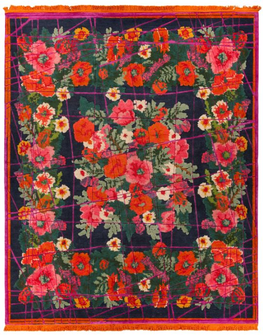 From Russia With Love by Jan Kath. Rich and bright motifs of traditional Siberian shawls have been transformed by Jan Kath's signature style into modern hand-made designer rugs. Images from Nicholas II period are featured in this collection which are true works of art.
