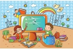 beautiful cute girl given a presentation to boy on television vector children illustration