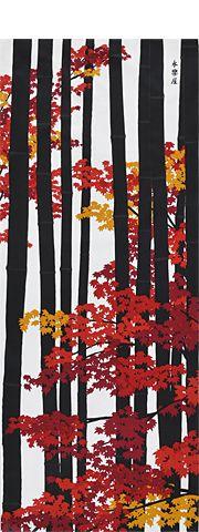 momiji - autumn 町家手拭 竹林に紅葉(もみじ)(ブラック/レッド) - 永楽屋 ONLINE SHOP