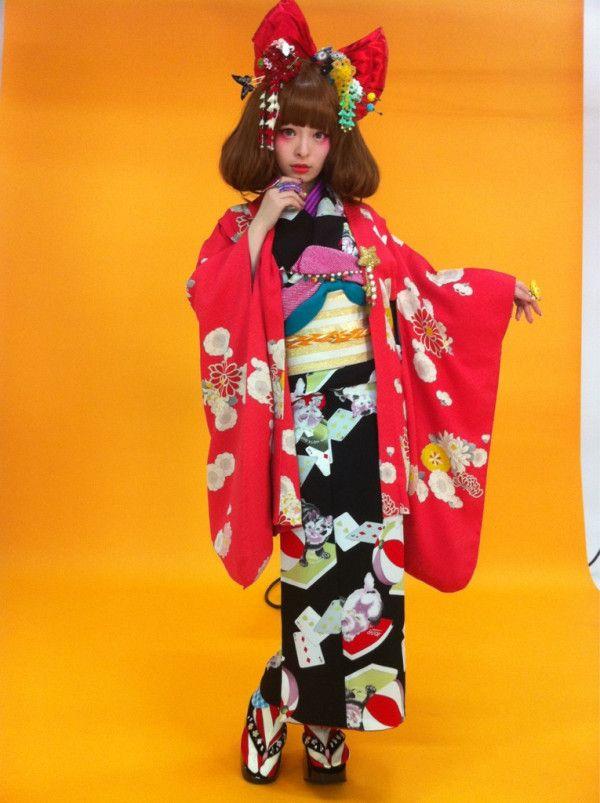 Kyary Pamyu Pamyu, Japanese, Japan, kimono, red, black, orange, harajuku