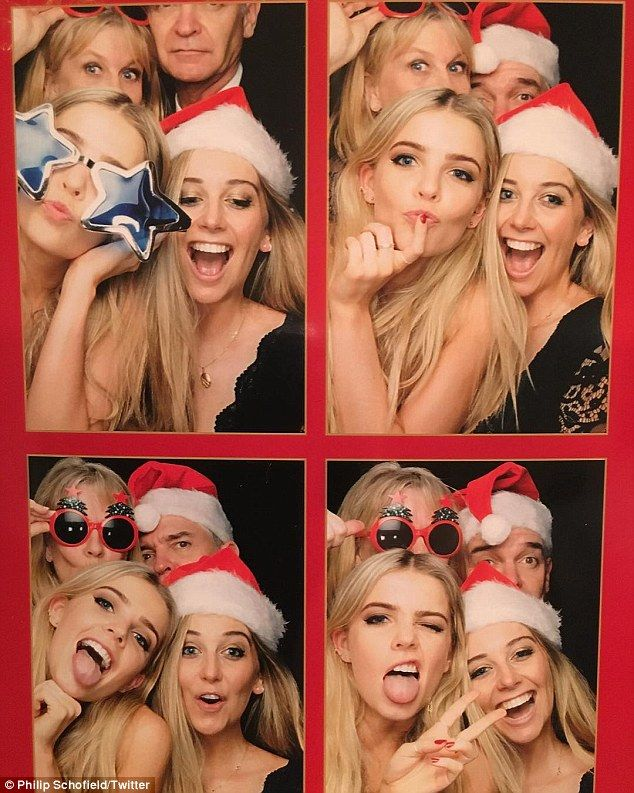 Showing them how it's down: Phillip Schofield's daughters Molly (right) and Ruby (left) sh...