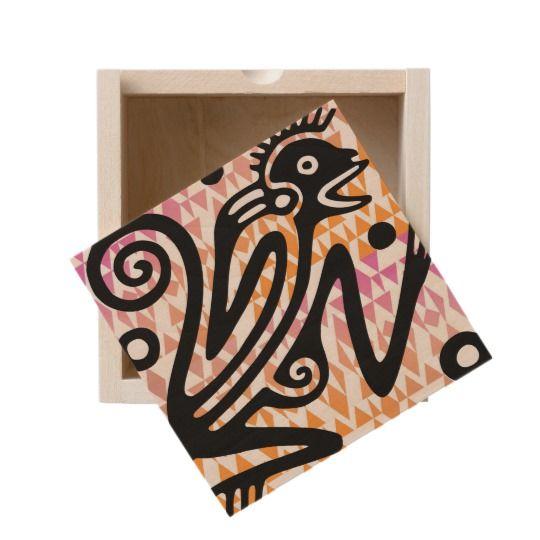 Vintage Aztec Monkey Wooden Trinket Box