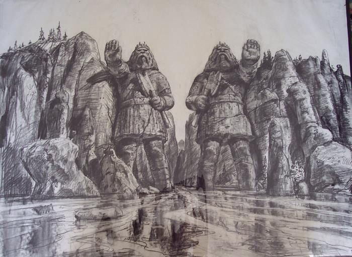 Ralph Bakshi The Lord of the Rings - The Pillars of the Kings on the River Anduin by Mentor Huebner