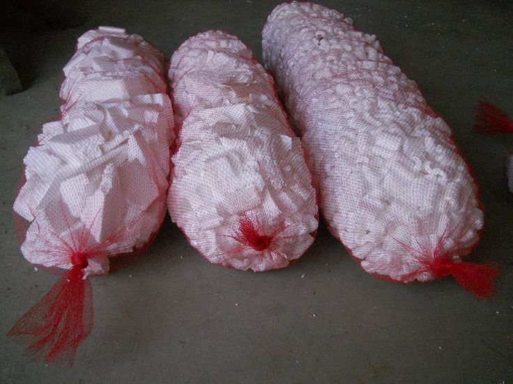Recycle Styrofoam Pices In A Mesh Bag For Rocks Faux