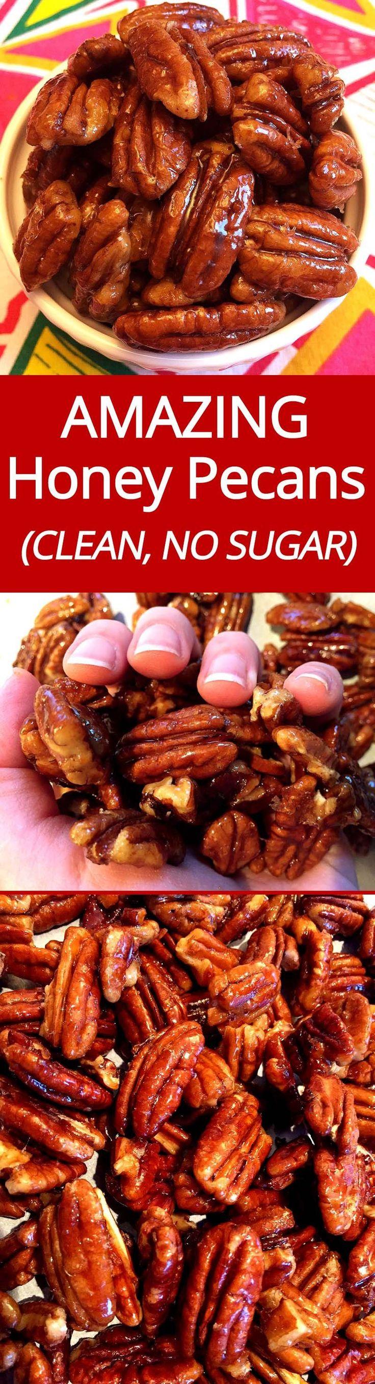 These honey candied pecans are amazing! | MelanieCooks.com
