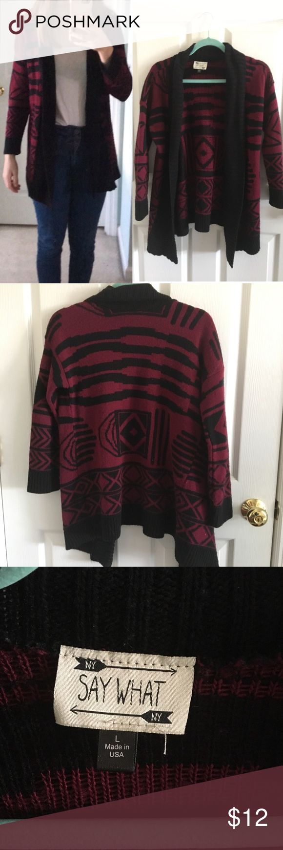 Say what magenta/black tribal print cardigan CUTE sweater from Ross, perfect for fall and winter and very warm SAY WHAT Sweaters Cardigans