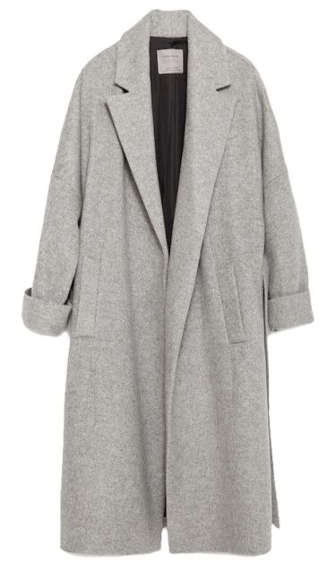 manteau long en laine grise, zara                                                                                                                                                                                 Plus