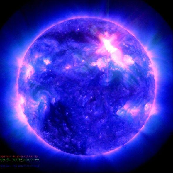 Giant solar flare captured in UV light by NASA's Solar Dynamic Observatory satellite on January 23.