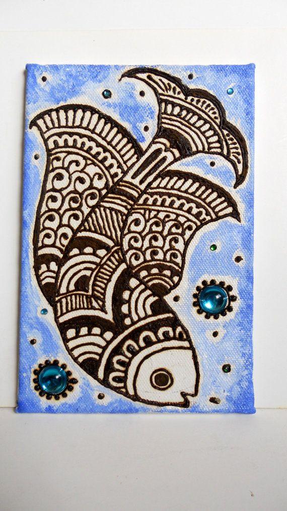 Henna Fish- Henna Canvas Painting — Craftziners