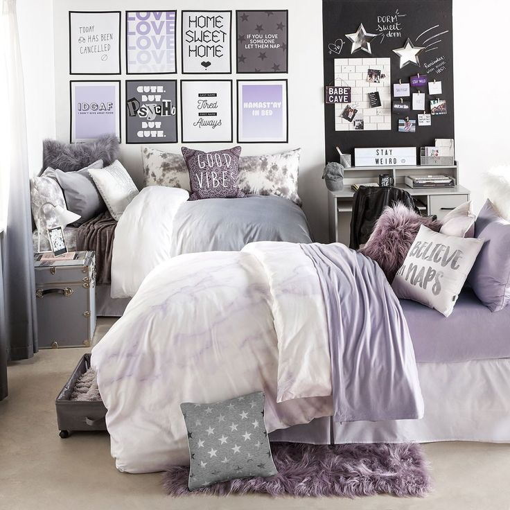 Lavender Marble Duvet Cover and Sham Set // shop this look on dormify.com
