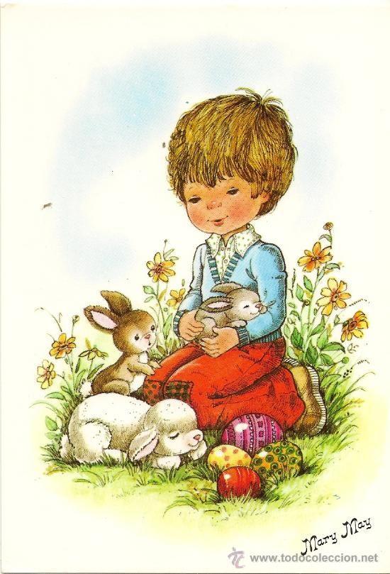 Bonita postal: Niña y conejitos. Mary May, nº 451/1. (Postales - Dibujos y Caricaturas)
