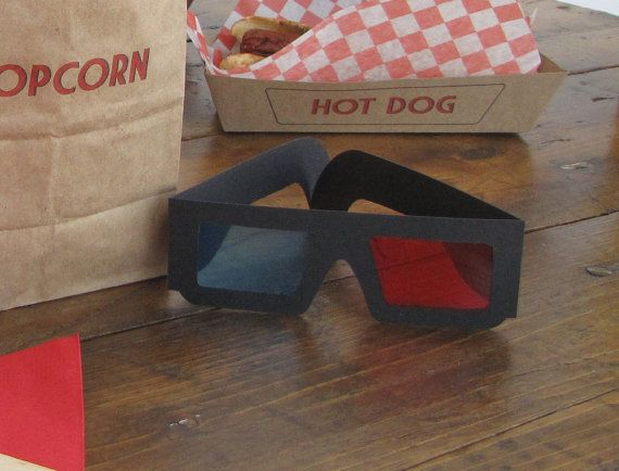 3D glasses instead of party hats - Movie Themed Party  Decoration Kit by happydotshandmade on Etsy, $48.00