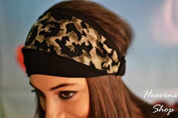 Black And Olive Shades Headband Wide Hair Cover by HeavensShop, €13.00