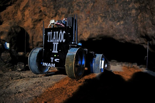 """A news item over atArchaeologyreports that a little wireless robot calledTlaloc II-TCwill soon """"investigate the far reaches of a tunnel found beneath theTemple of the Plumed Serpentat Teotihuacan,"""" entering a chamber """"estimated to be 2,000 years old, and [that] may have been used as a place for royal ceremonies or burials."""""""