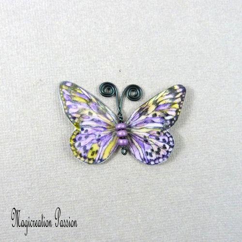 Papillon plastifié apolline violet, jaune 5 cm