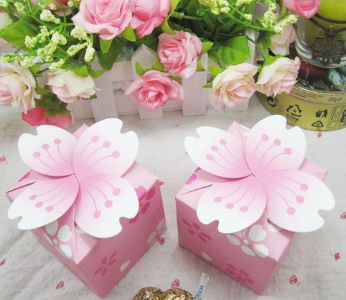 free shipping  candy box 100pcs pink cherry blossom Wedding Favor box Marriage Party Boxes gift box wedding box