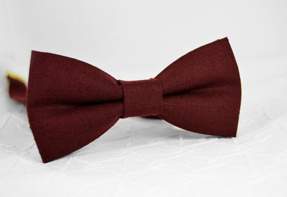 DESCRIPTION: Burgundy bow tie, linen bow tie, marsala bow tie, dark red wine bow…