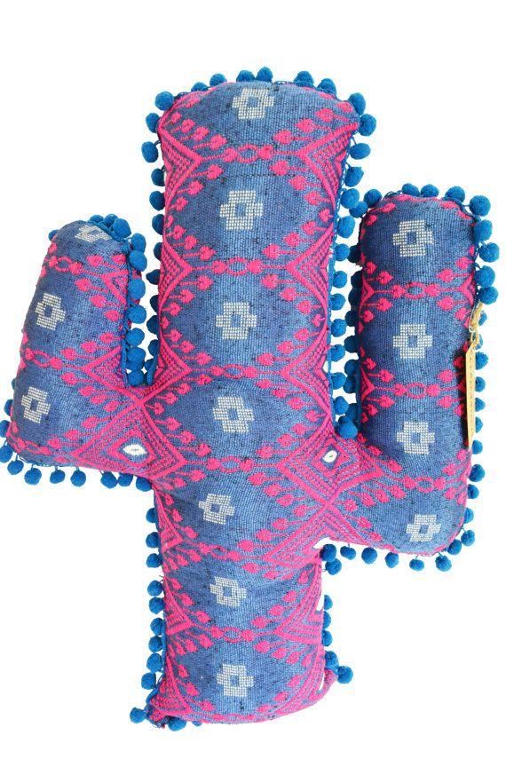 Aztec blue/pink Cactus pom pom cushion