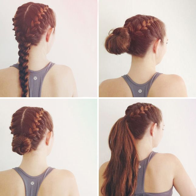 Check out these 4 ways to wear braids to the gym.