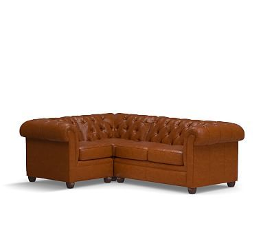 Chesterfield Leather Right Arm 3 Piece Corner Sectional, Polyester Wrapped  Cushions, Leather Legacy