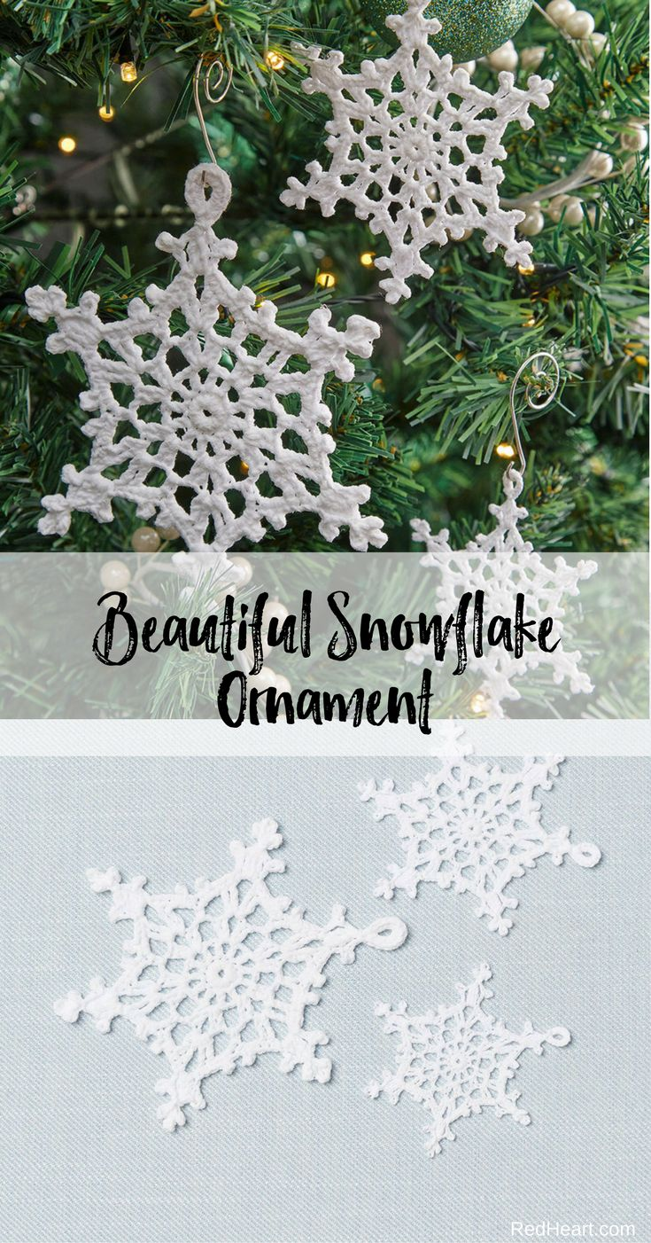 Beautiful Lacy Snowflake Ornaments crocheted in Aunt Lydias Fine Crochet Size 20. Crocheted snowflakes are a wonderful way to add beauty to your tree. This pretty design will look just as nice crocheted in size 3, 10 or 20 weight crochet thread!