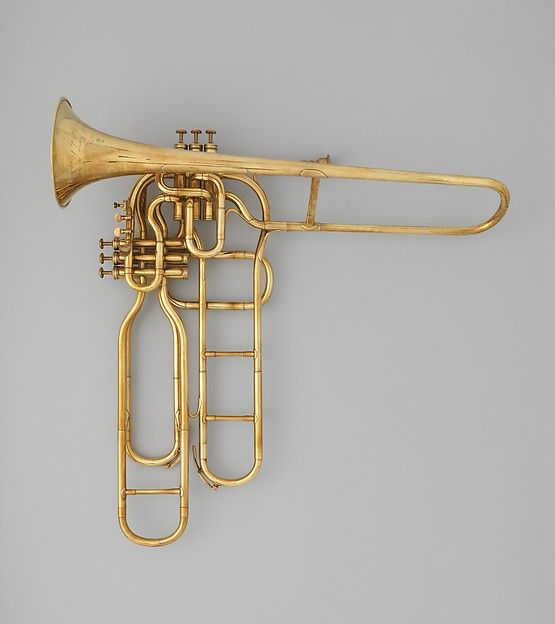 Tenor valve Trombone Maker: Adolphe (Antoine Joseph) Sax (Belgian, Dinant, Belgium 1814–1894 Paris)  Date: ca. 1863  Geography: Paris, France  Medium: Brass, white metal, cork