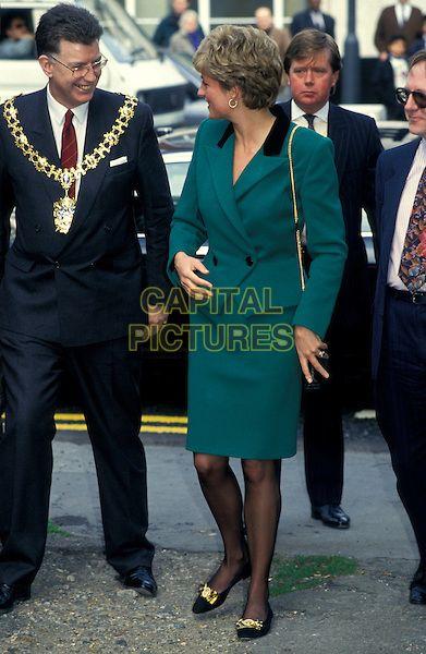 KEN WHARFE & HRH PRINCESS DIANA, THE PRINCESS OF WALES.London England Circa 1990.royal Lady Di full length green suit jacket skirt.CAP/HT.©Hugh Thompson/Capital Pictures