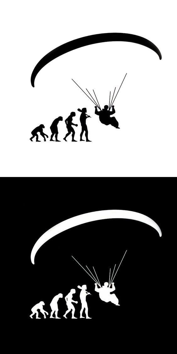 Motorcycle sticker Human Evolution Paragliding Car Stickers Cartoon Motorcycle Vinyl Decals Black/Silver
