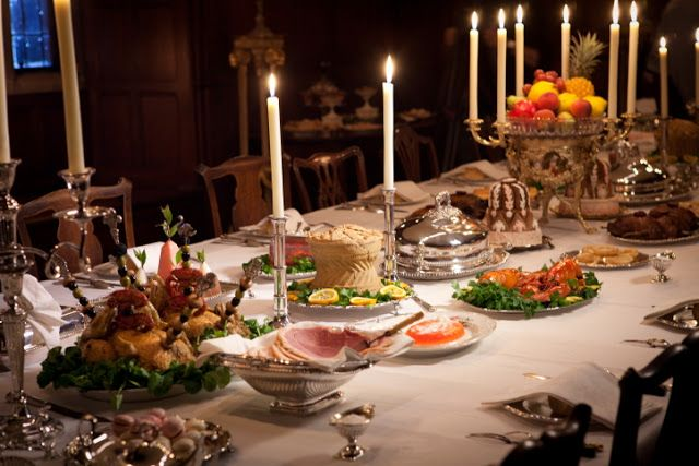 """A detailed post on a faithfully recreated banquet table """"à la française"""" for a """"Pride and Prejudice"""" special on BBC (Regency vs Victorian, but very close!)"""