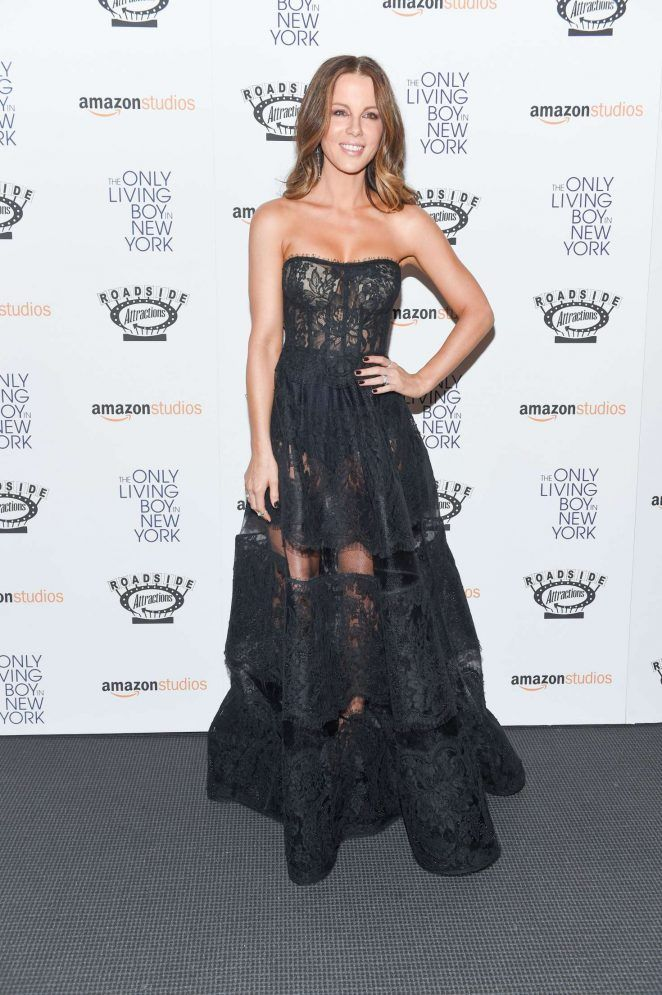"dailyactress:  "" Kate Beckinsale – 'The Only Living Boy In New York' Premiere in New York  ""  Weird dress"