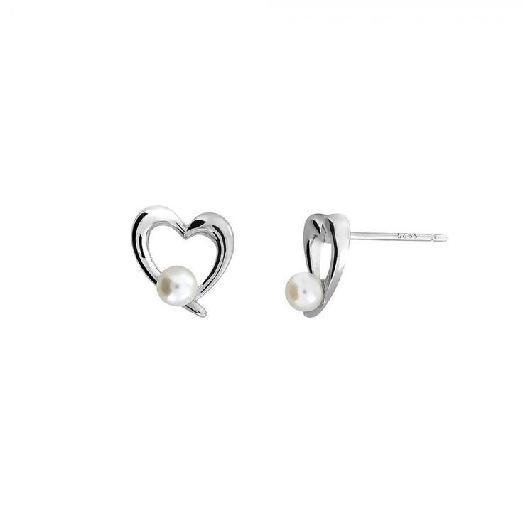 Silver & Pearl Open Heart Earrings #Bridal #Silver #Pearl #Earrings #StudEarrings #PearlEarrings #WeddingJewellery #Wedding