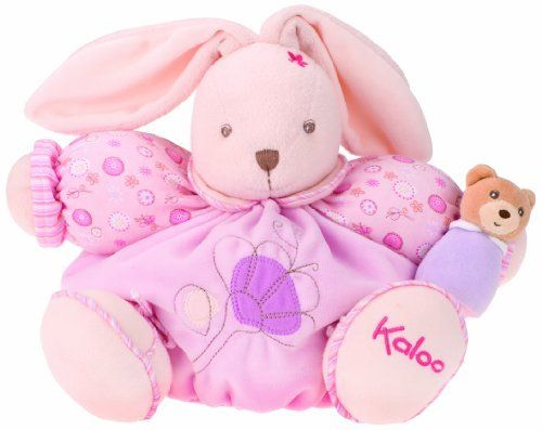 """Kaloo Lilirose Chubby Rabbit, Large by Kaloo. $39.36. From the Manufacturer                Our large lilirose bear sits about 13"""" high and has a removable wrist rattle your little one can enjoy all on her own. Made of cotton velour, machine washable. It is being designed in France.                                    Product Description                Our large lilirose bear sits about 13"""" high and has a removable wrist rattle your little one can enjoy all on her own. Made of..."""