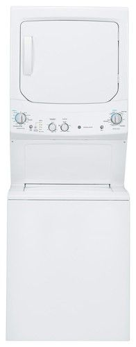 GE - Unitized Spacemaker 3.2 Cu. Ft. 11-Cycle Washer and 5.9 Cu. Ft. 4-Cycle Dryer Electric Laundry Center - White-on-White - Larger Front