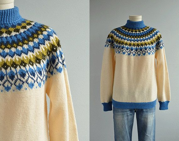 Vintage Nordic Sweater / 60s Hand Knit Wool Fair Isle Pullover Patterned Yoke Cream Blue Olive Made in Norway