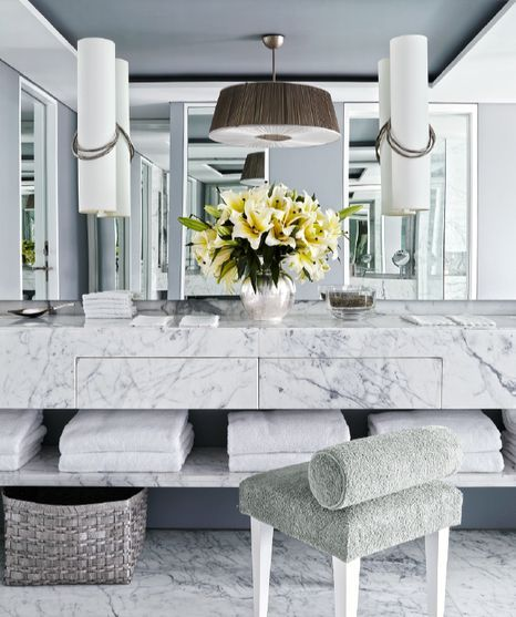 Jean Louis Deniot stunning master bath,  marble vanity, ceiling everything is beautifully designed