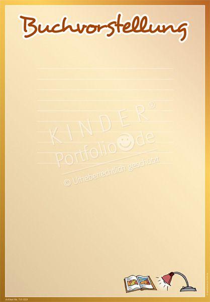 """Kindergarten Portfolio Vorlage """"Buchvorstellung"""""""