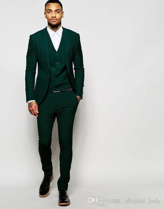 Latest Design One Button Dark Green Groom Tuxedos Groomsmen Best Man Suits Mens Wedding Blazer Suits Jacket+Pants+Vest+Tie Men Vest Groom Vest Wedding Waistcoat Online with $99.43/Piece on Alegant_lady's Store | DHgate.com