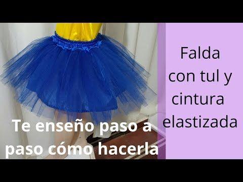 144d2b290 DIY. Falda con tul para disfraz o tutú con pretina y elástico para ...