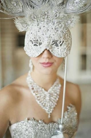 Beautiful mask and hairpiece for a Venetian Theme Wedding