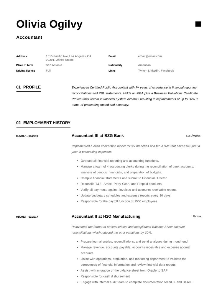 19+ accountant resume sample in 2020 Accountant resume