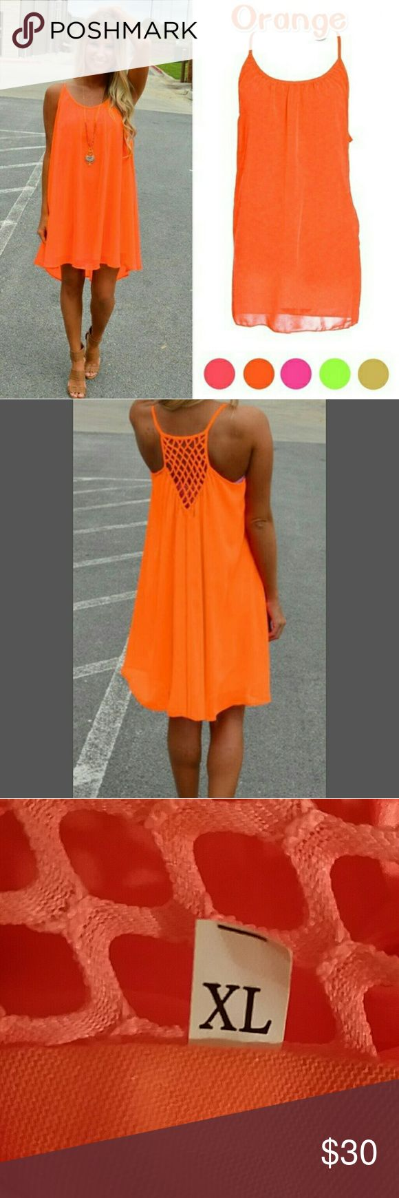 SEXY BEACH PARTY DRESS BRIGHT ORANGE BEACH DRESS  RACERBACK WITH LACE DETAIL  COMPLETELY LINED CHIFFON  AND POLYESTER  SIZE XL BUST 20.5 LAYING FLAT  LENGTH 40 INCHES FROM TOP OF SHOULDER  PERFECT FOR THIS TIME OF YEAR! Dresses Midi