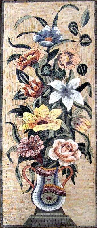El florero del mosaico Floral de Gerberas