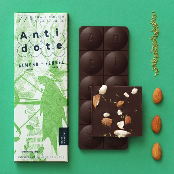 """Antidote chocolate bars are sustainably made from """"bean to bar"""" with a unique 50/50 blend of RAW  roasted organic cacao for optimum taste and nutrition."""